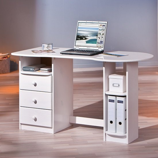 Newry Wooden Computer Desk In White With 3 Drawers