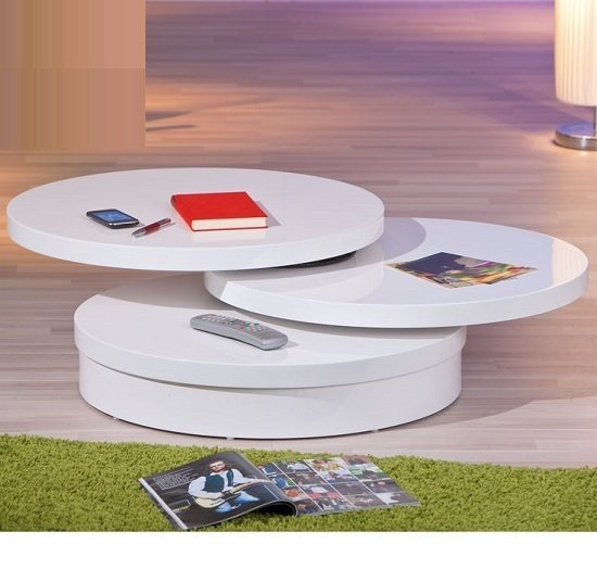 Lana Coffee Table In A Round Swivel Style In White Gloss 203
