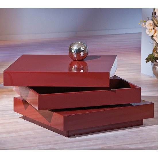 Triomo Storage Coffee Table With Rotation In Marsala High Gloss