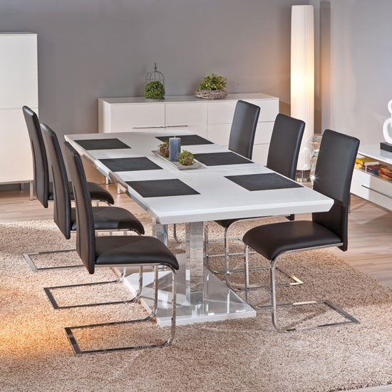 Edmonton Extendable White Gloss Dining Table 6 Trishell Chairs