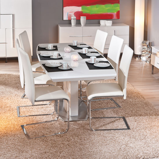 Cortina Extendable White Gloss Dining Table With 6 Mestler Chair