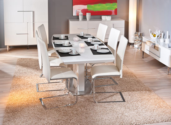 Cortina Extendable White Gloss Dining Table With 8 Mestler