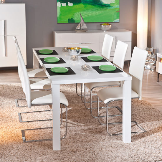 Rossetto Extendable White Gloss Dining Table And 6 Mestler Chair