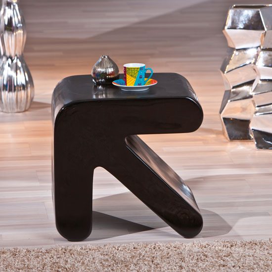Finley Side Table In Black High Gloss