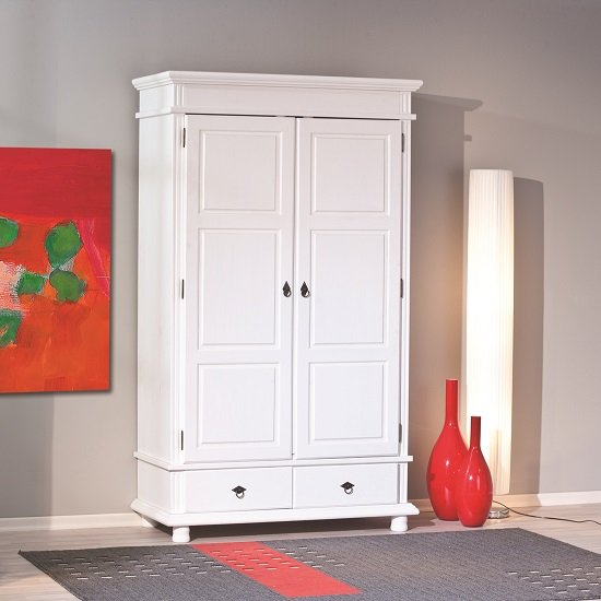 Danzig 2 Door Wardrobe In White Real Pine Wood With 2 Drawers