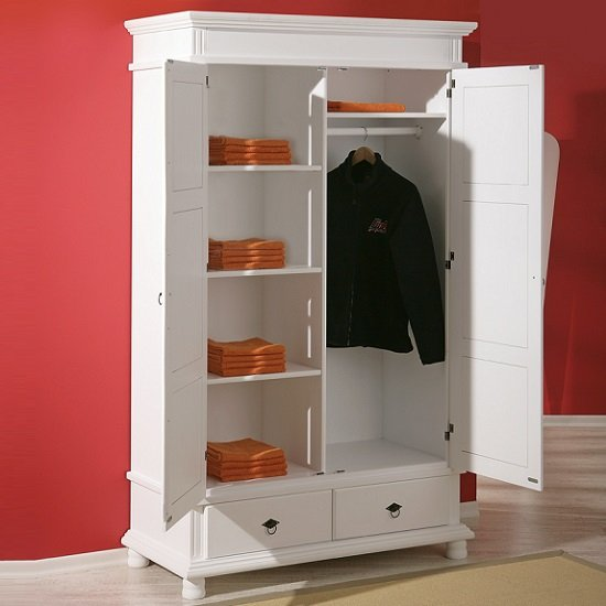 Danzig 2 Door Wardrobe In White Real Pine Wood With 2 Drawers_4