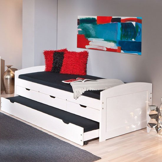 Ulli Large Day Bed With 3 Drawer And Pull Out Under Bed In White