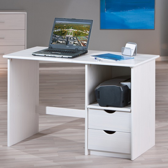 Photo of Croma wooden computer desk in white with 2 drawers