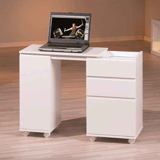 Maxim Extendable Laptop Office Desk In White With Rollers_2
