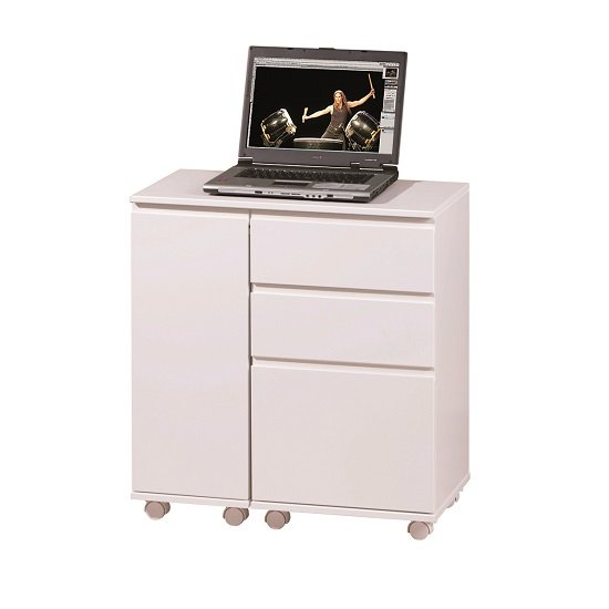 Maxim Extendable Laptop Office Desk In White With Rollers_4