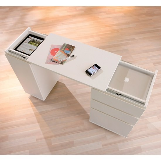 Maxim Extendable Laptop Office Desk In White With Rollers_6