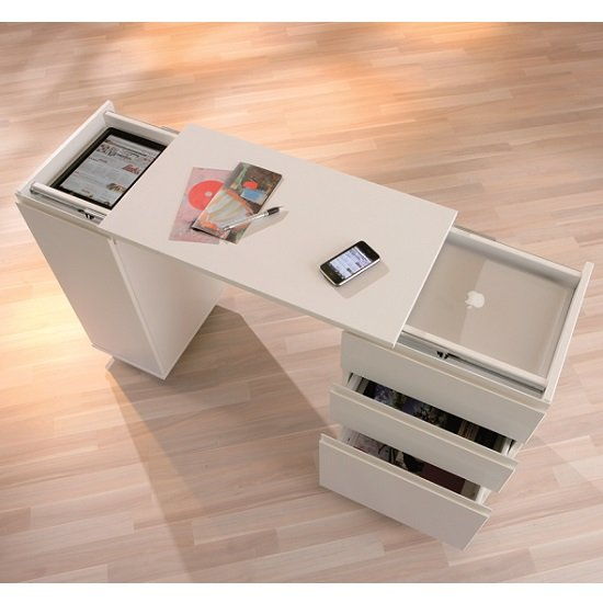 Maxim Extendable Laptop Office Desk In White With Rollers_8