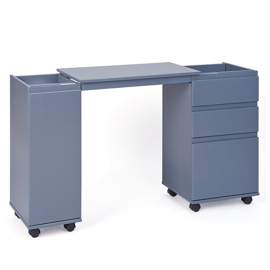 Maxim Extendable Laptop Office Desk In Grey With Rollers_2