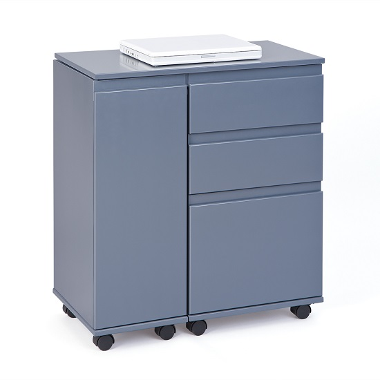 Maxim Extendable Laptop Office Desk In Grey With Rollers_3