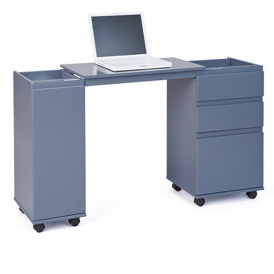 Maxim Extendable Laptop Office Desk In Grey With Rollers_4