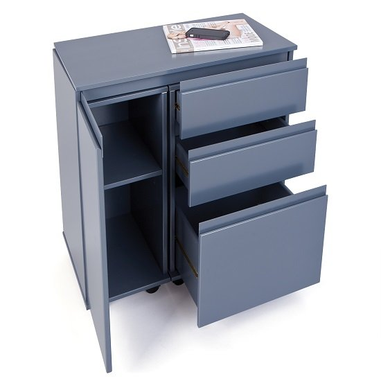 Maxim Extendable Laptop Office Desk In Grey With Rollers_5
