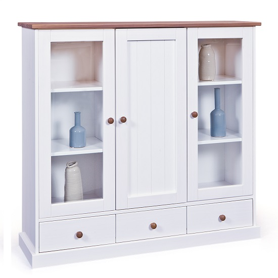 Belco Display Cabinet In White And Sepia Brown With 3 Doors_2