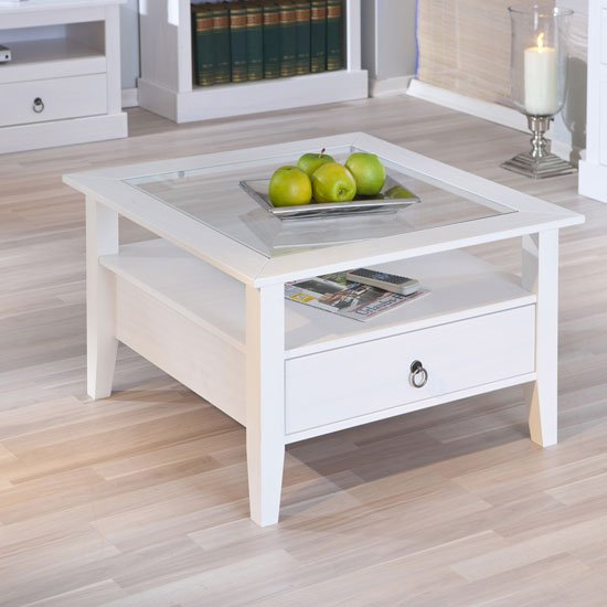 Stanley square coffee table in white with 1 drawer 19143 White wood coffee table