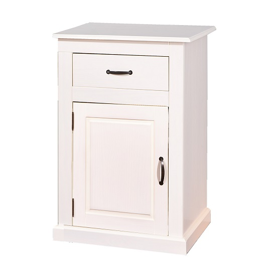 Morgan Bedside Cabinet In White With 1 Drawer And 1 Door