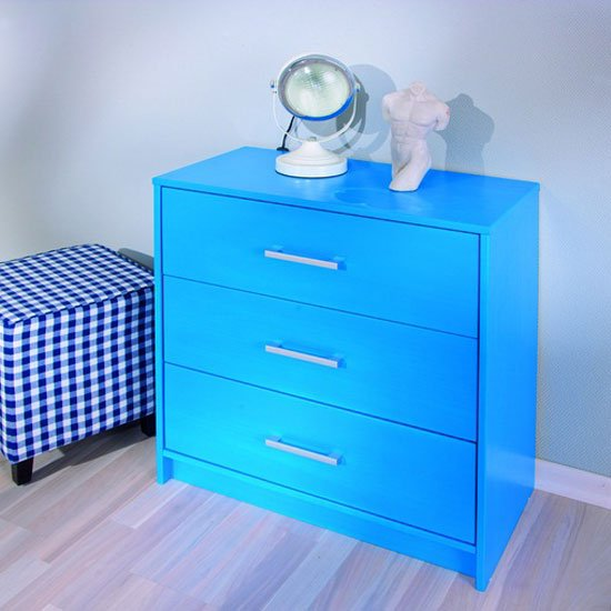 New York Solid Pine Blue Chest Of Drawers With 3 Drawers