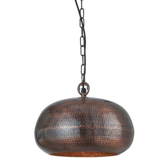 Hammered Antique Bronze Finish Elipse Beaten Ceiling Pendant