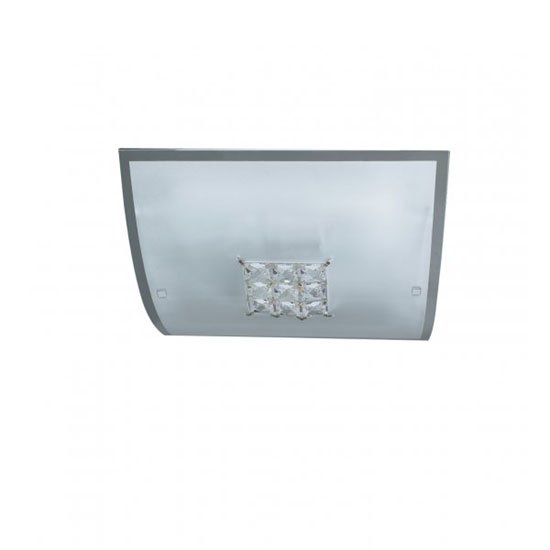 View Francesca square flush ceiling light with crystal windows