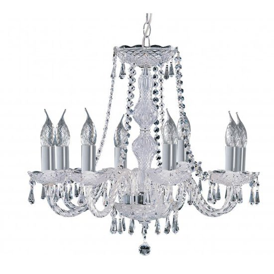 Hale Multi Arm Chrome Finish Crystal Chandelier Ceiling Light
