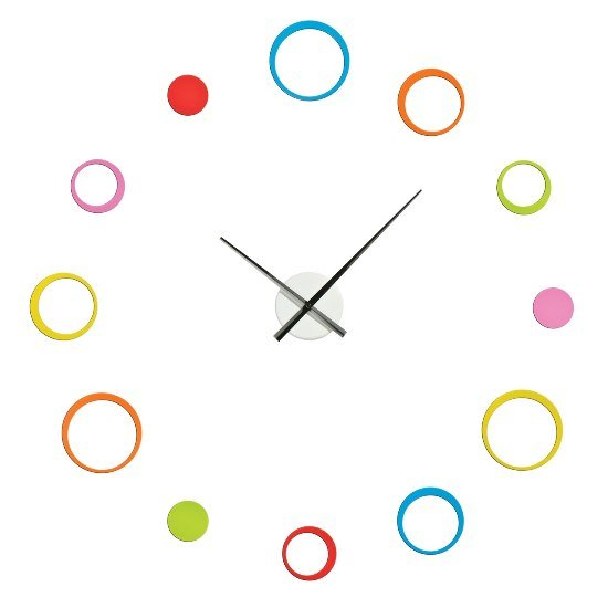Circular Multi Coloured Wall Clock