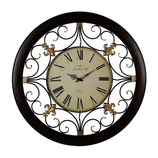 Siemens Wall Clock In Black Metal With Scroll Detail