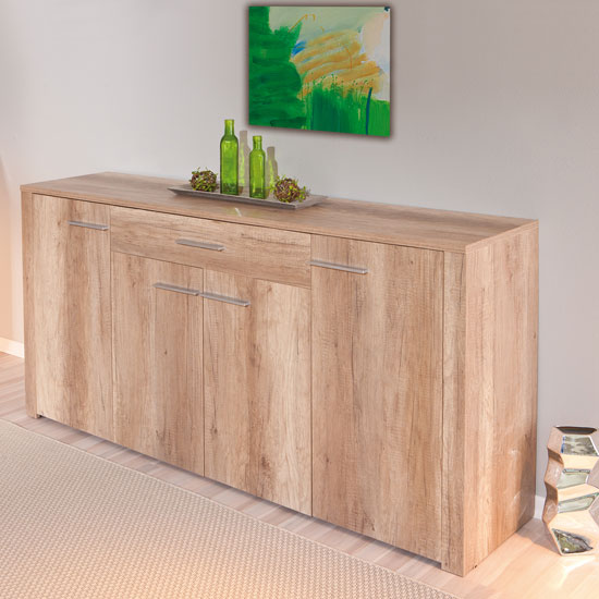 Utopia Wooden Sideboard In Wild Oak With 4 Doors And Drawer