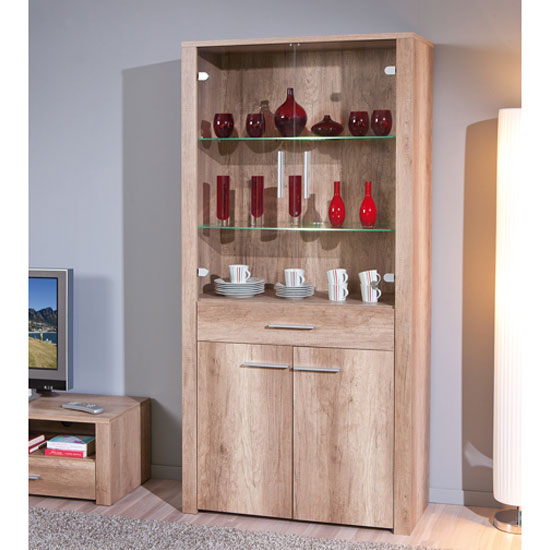 Utopia Glass Display Cabinet In Wild Oak With 4 Doors And LED