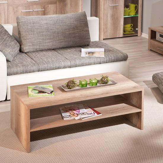 Utopia Wooden Coffee Table In Wild Oak With Undershelf