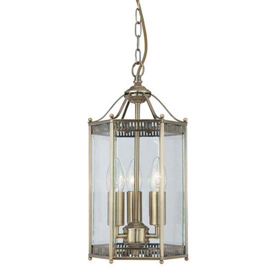 Image of 3 Light Antique Brass Finish Hexagonal Lantern Ceiling Light