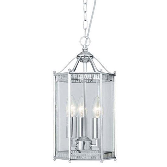 3 Light Chrome Finish Hexagonal Lantern Ceiling Light