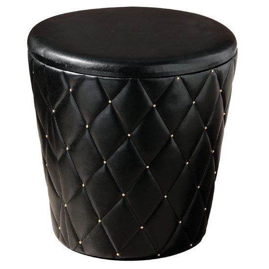 Candera Black Leather Effect Round Shaped Storage Stool