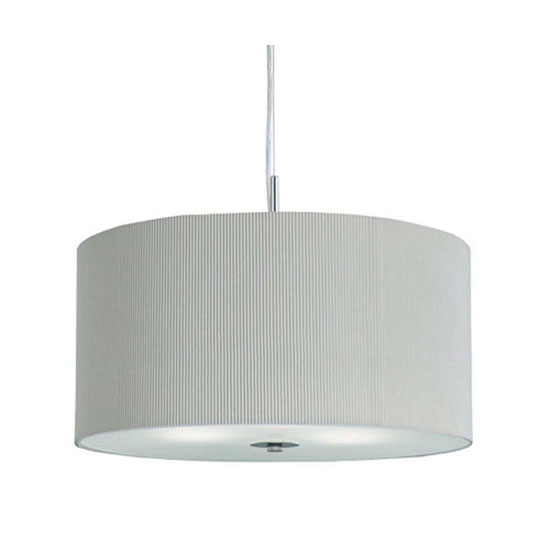 3 Light Cream Drum Pendant With Frosted Glass Diffuser