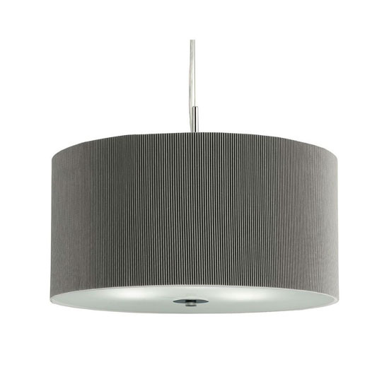 Image of 3 Light Silver Drum Pendant With Frosted Glass Diffuser
