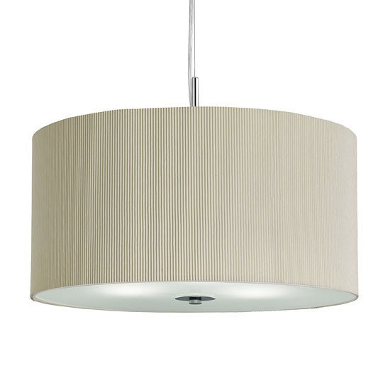 Large 3 Light Cream Drum Pendant With Frosted Glass Diffuser