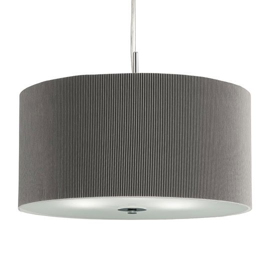 Large 3 Light Silver Drum Pendant With Frosted Glass Diffuser