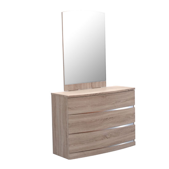 Janet Oak Finish 3 Drawer Dressing Table With Mirror
