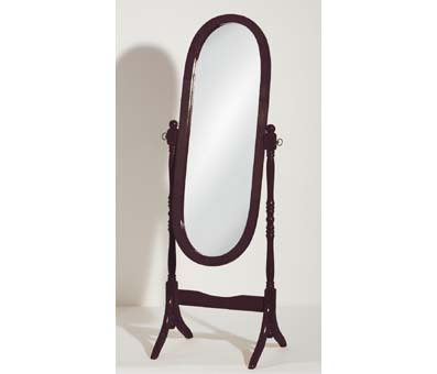 Oval Cheval Floor Standing Mirror In Mahogany