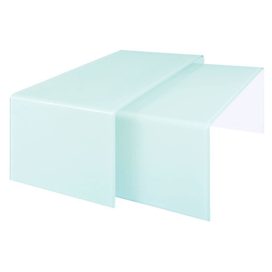 Quillon Nest of 2 Coffee Tables In White Bent Glass