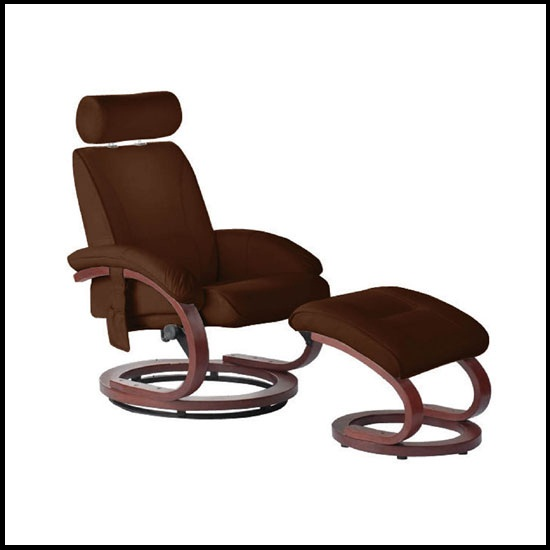 Bliss Massage Chair And Footstool With Brown Leather Effect