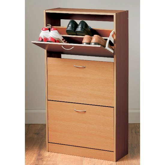 Envy Shoe Cabinet In Oak With 3 Drawer