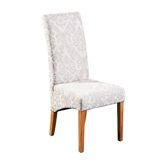 Glamour Dining Chair In Ivory and Gold Chenille Solid Wood Legs