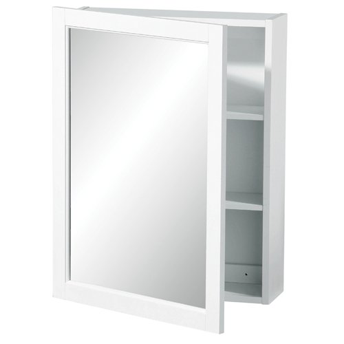 Photo of Mirrored wall cabinet white wood 2 tier shelves
