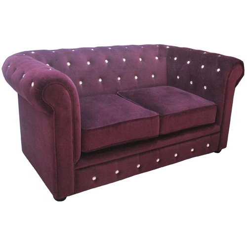 Purple Velvet Diamante 2 Seat Chesterfield Sofa 2402108