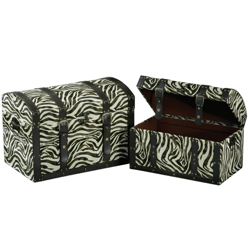 2 Faux Leather Zebra Print Storage Trunk