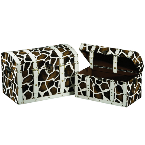 2 Faux Leather Giraffe Print Storage Trunk