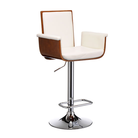Pique Walnut wood with white leather effect bar stool 2402285